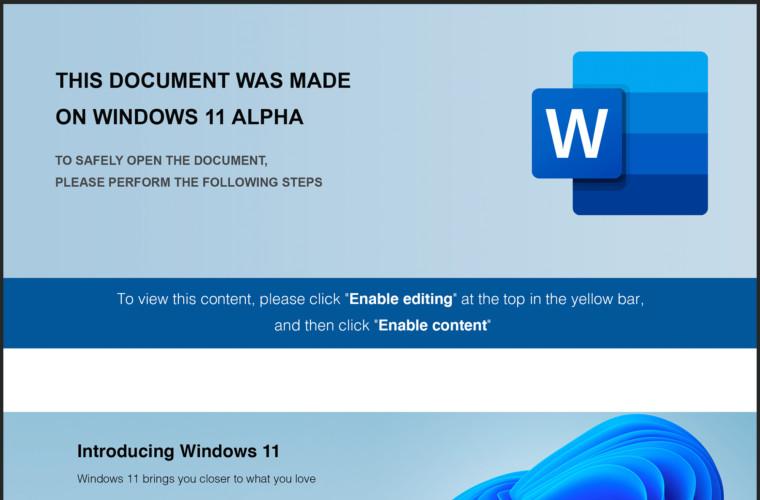 Windows 11 Alpha themed malicious Word document