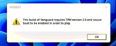 Vanguard anti-cheat now with TPM 20 and Secure Boot