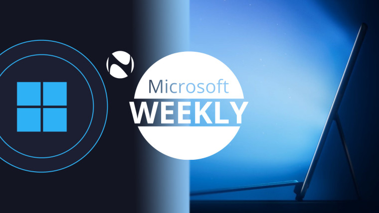 Microsoft Logo and a Surface Pro like device on each side with Microsoft Weekly written in the middl