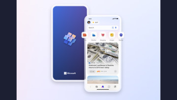 Microsoft Start apps on an iPhone against a colorful background