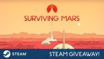 Surviving Mars logo alongside a Steam giveaway banner