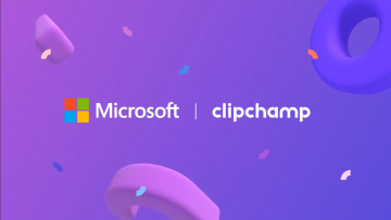 A graphic with Microsoft and Clipchamp logos on a purple background