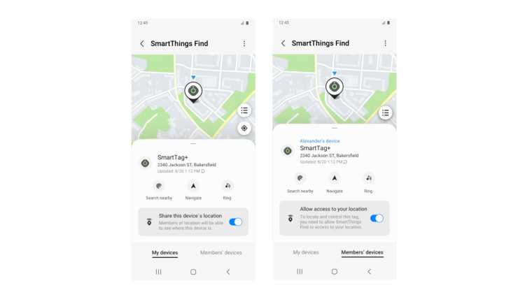 A screenshot of Samsung&039s SmartThings Find
