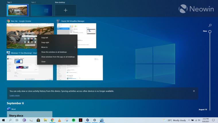 A screenshot of Virtual Desktops running on Windows 10