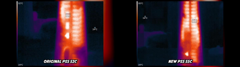 New PS5 exhaust temperature vs original model