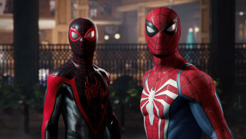 This is a promotional image for Spider-Man 2 for PlayStation 5