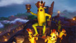 Fortnite&039s Peely sitting on a throne with other bananas carrying him