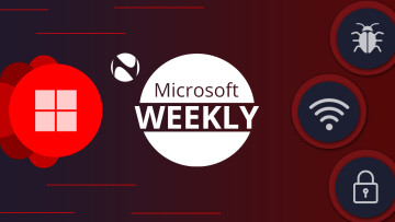 Microsoft Weekly written next to a Windows logo and wifi bug and lock icons against a red background