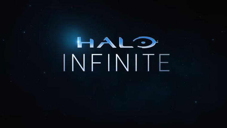 Halo Infinite written against a dark blue background