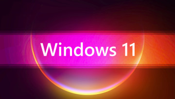 Windows 11 written in the middle against a red and purple background