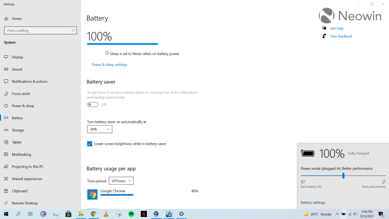 A screenshot of power and battery settings in Windows 10