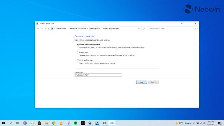 Power plan settings in Windows 10