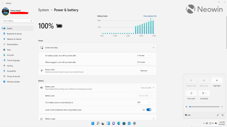 Power and battery settings in Windows 11