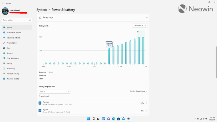 Battery Usage graph in Windows 11
