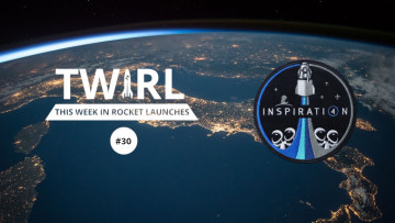 The TWIRL logo and the Inspiration4 logo in front of Earth