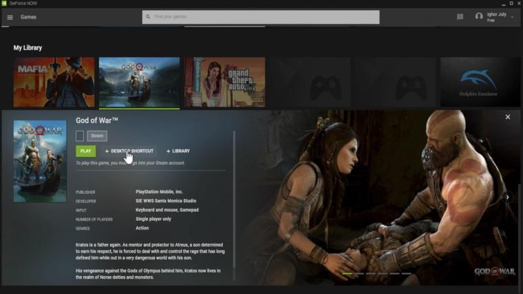God of War Steam version hidden in GeForce Now