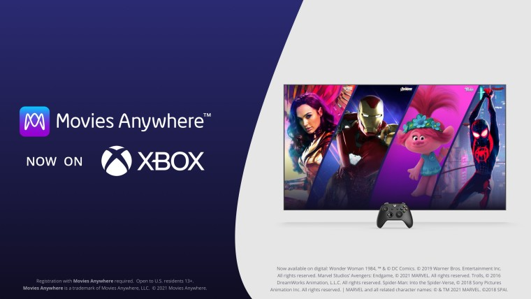 A TV with a console in front of it and Movies Anywhere now on Xbox written next to it