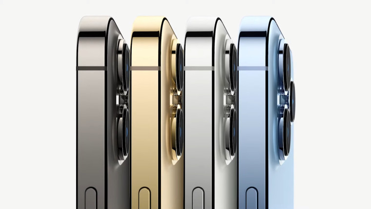 Top of the iPhone 13 Pro in blue silver golden and grey