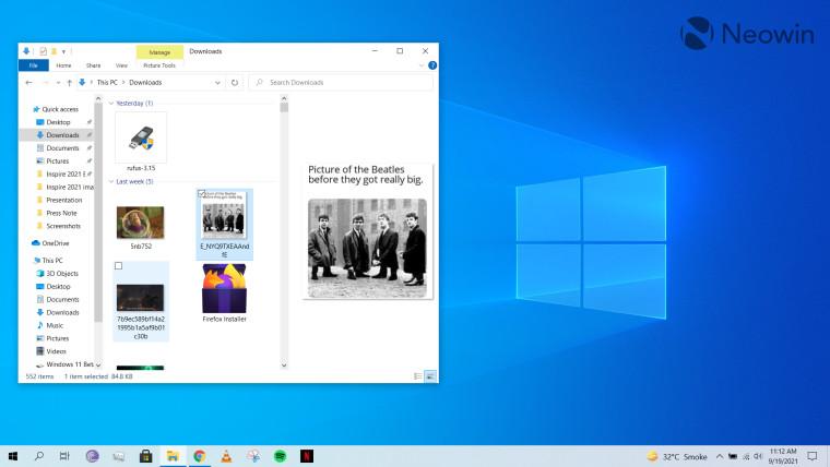 File Explorer open on Windows 10 desktop