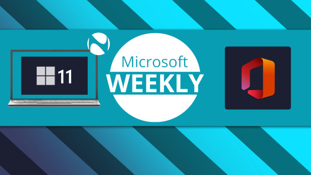 MIcrosoft Weekly logo with Windows 11 in a laptop and Office logo next to it
