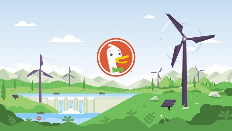 DuckDuckGo&039s logo in front of cartoon wind turbines