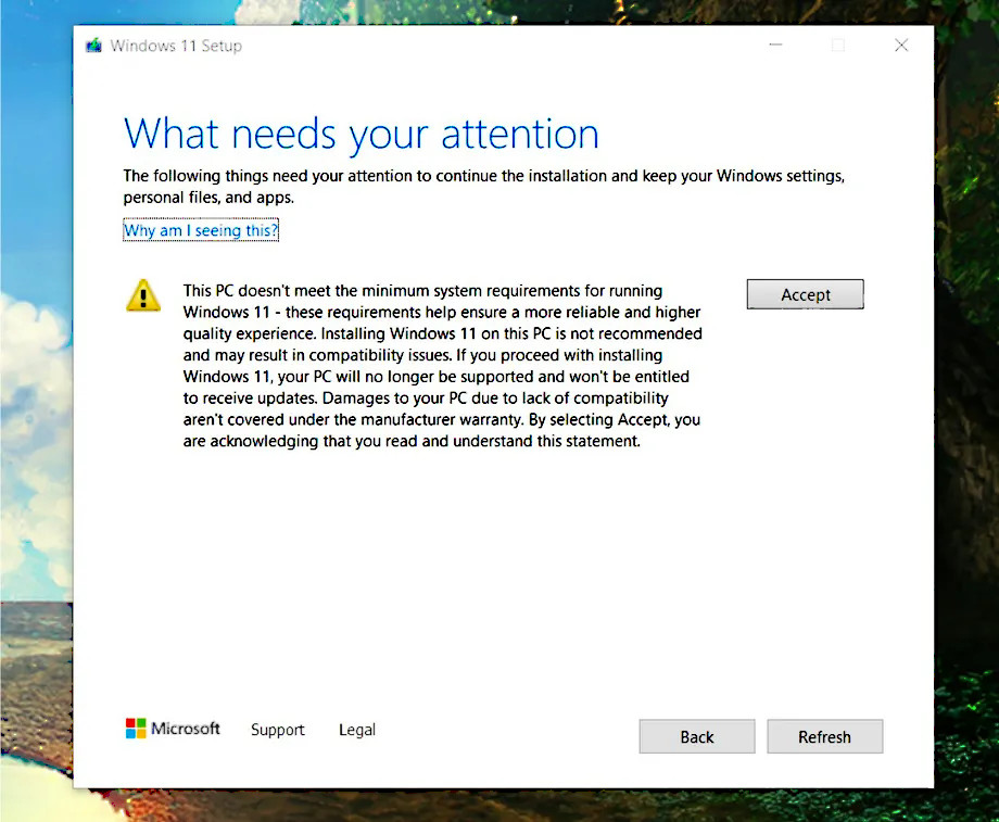 Pact for Windows 11 unsupported PCs