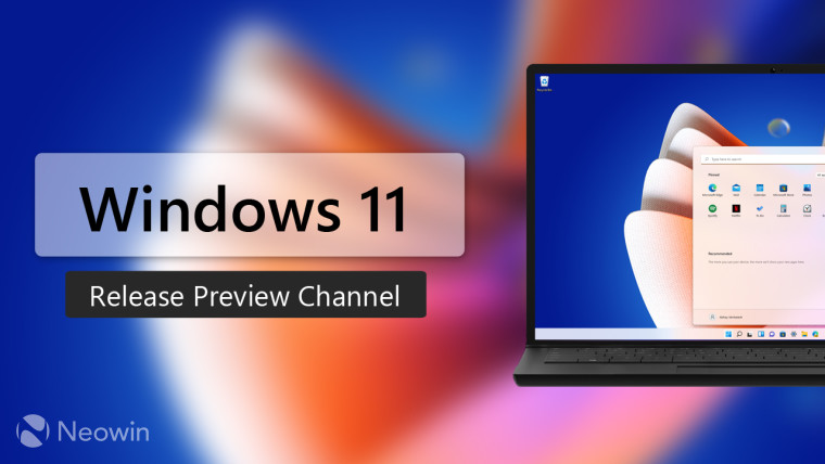 A virtual laptop running Windows 11 next to Windows 11 Release Preview Channel text