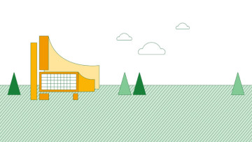 A graphic showing a building grass and trees