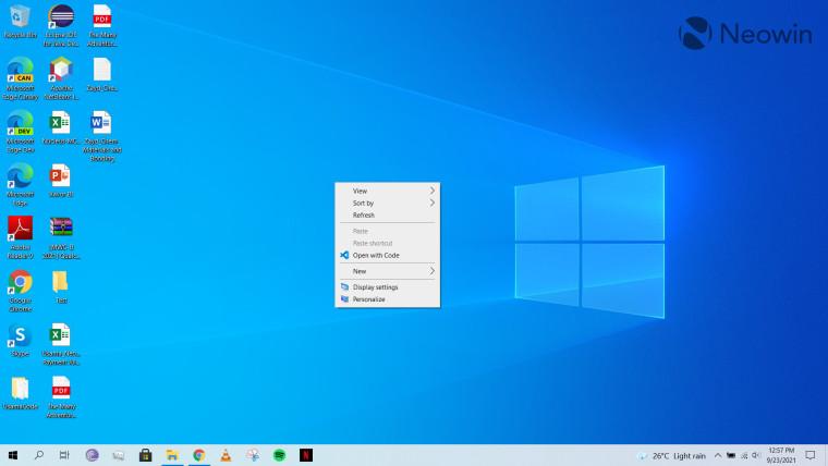 A screenshot of the context menu open in Windows 10 desktop