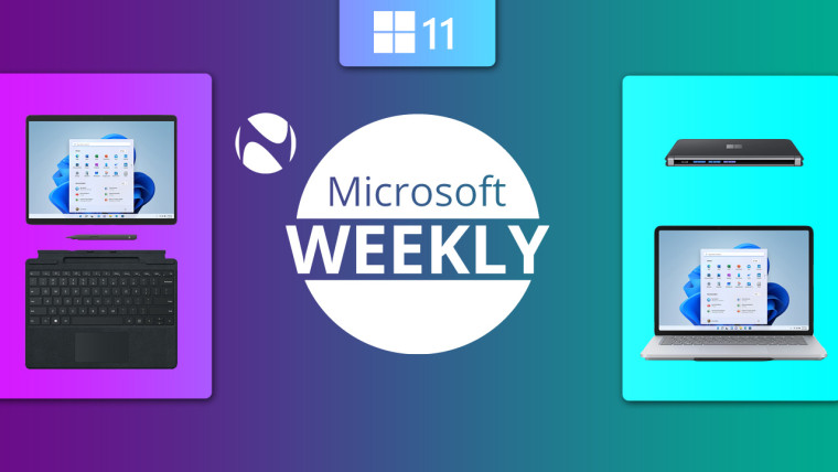 Surface Duo Pro 8 and Laptop Studio images next to Microsoft Weekly text and Neowin logo