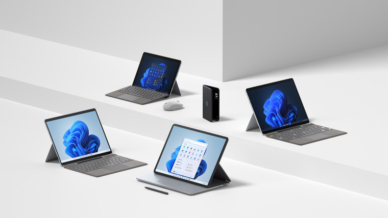 Surface Pro 8 Laptop Studio Go 3 Pro X and Duo 2 devices placed in a white background