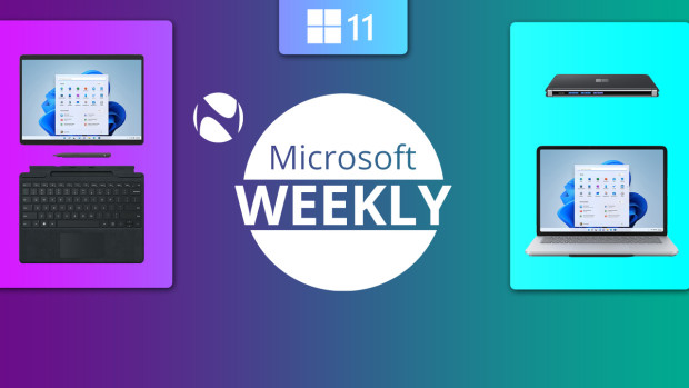 Surface Duo 2 Pro 8 and Laptop Studio images next to Microsoft Weekly text and Neowin logo