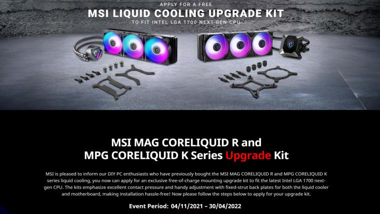 MSI cooler upgrade kit for socket LGA1700