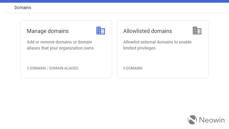 A screenshot showing allowlisted domains in Google Admin console