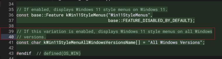 A screenshot of updated code in the Chrome Gerrit