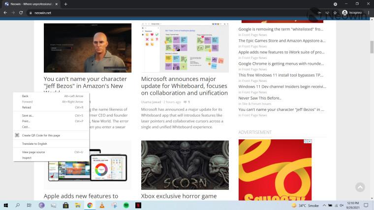 A screenshot of a context menu in Google Chrome
