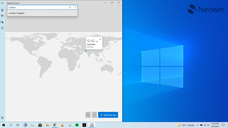 World Clock on Alarms & Clock app open on Windows 10 desktop