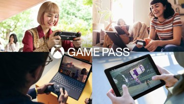 Xbox Game Pass logo with people playing games in the background