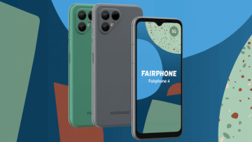 The Fairphone 4 on a multi-coloured background