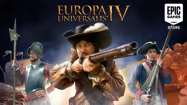 Europa Universalis IV keyart with Epic Games Store logo in right top corner