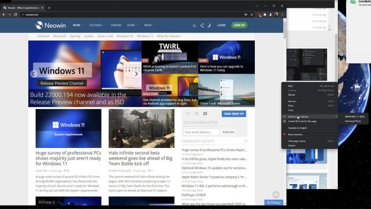 Chrome Windows 11 style menus on Windows 10