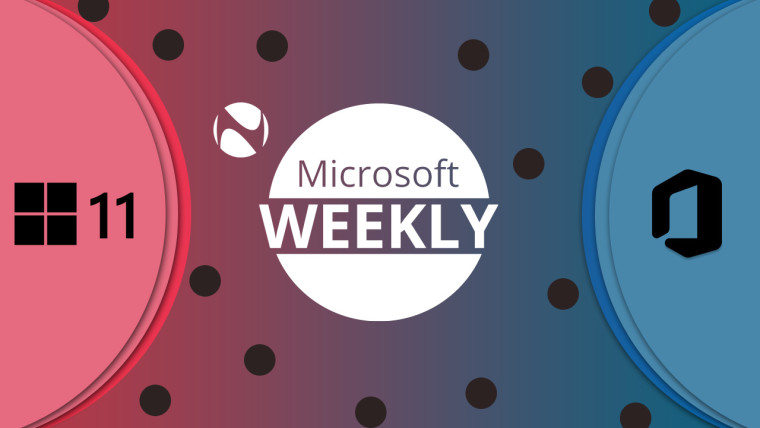 Microsoft Weekly logo with Windows logo and a 11 on the left and Office logo on the right