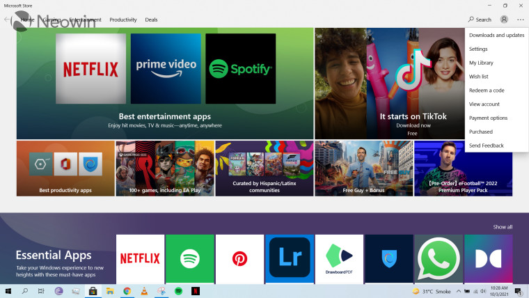 A screenshot of the landing page for the Microsoft Store in Windows 10
