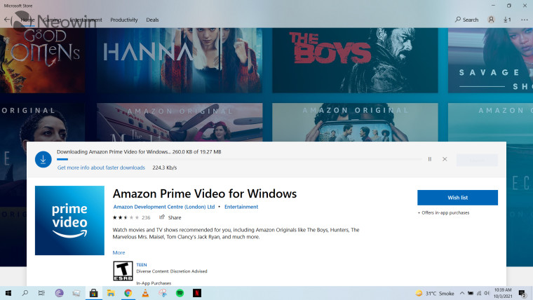 A screenshot of a store listing for Amazon Prime Video on Microsoft Store in Windows 10