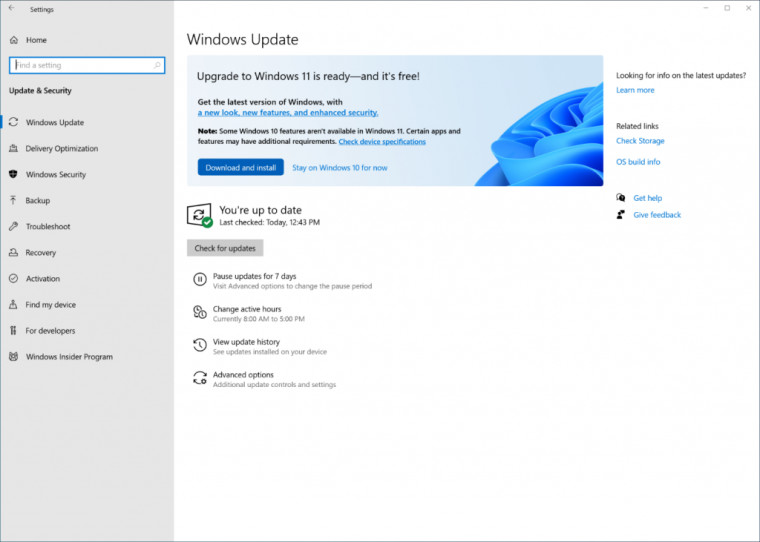 Windows Update showing that Windows 11 is ready for update