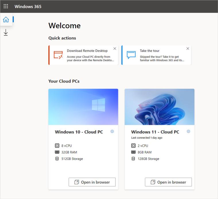 A screenshot of Windows 10 and Windows 11 Cloud PCs running on Windows 365