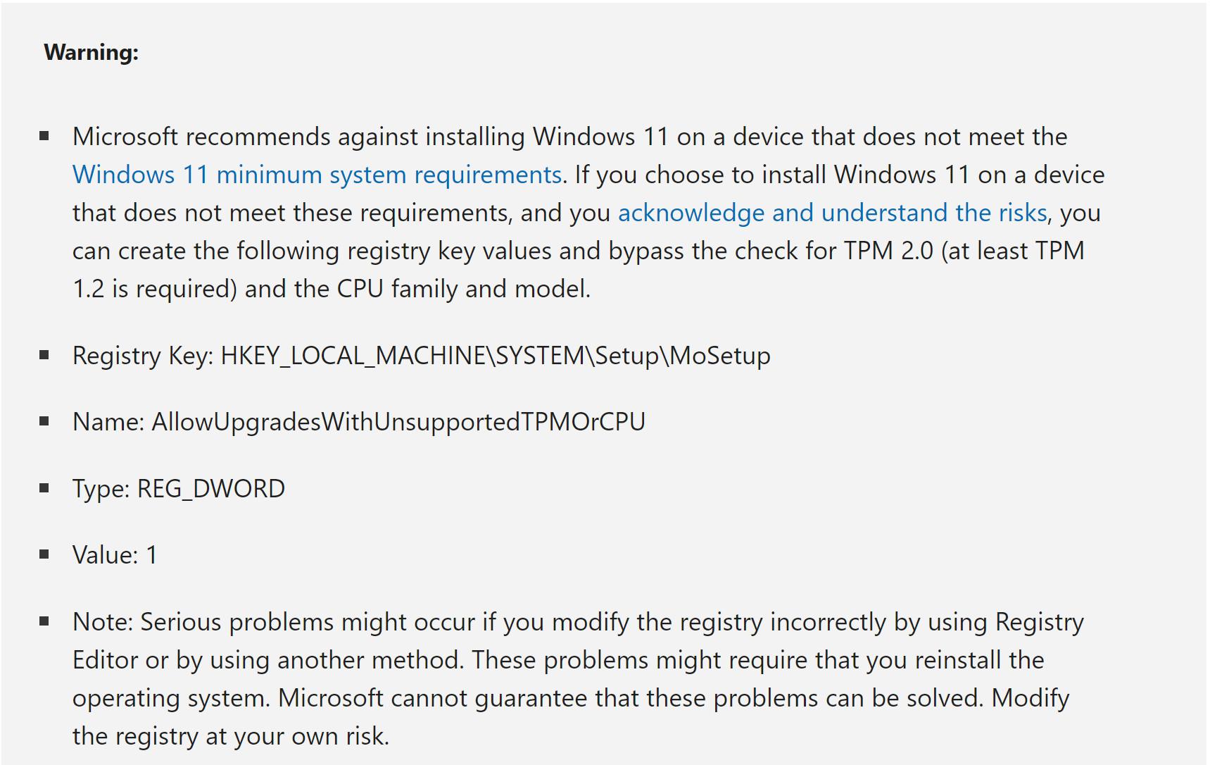 TPM bypass method by Registry tweaking