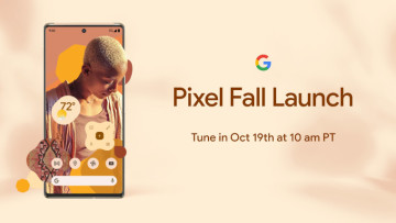 A Pixel phone on a gold background with information about the upcoming event