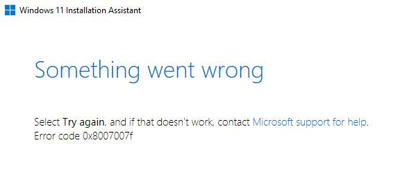 Windows 11 installation error
