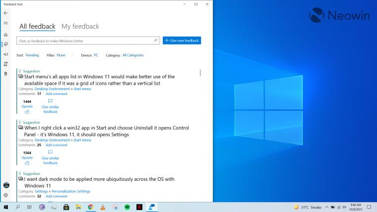 A screenshot of Feedback Hub open in Windows 10